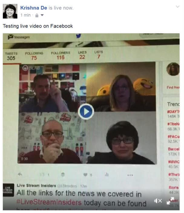Facebook live streaming from a personal profile