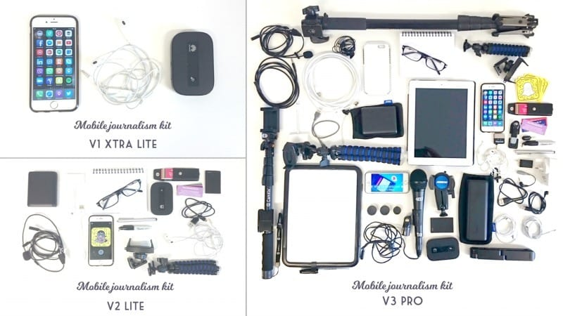 Three levels of mobile brand journalism kit