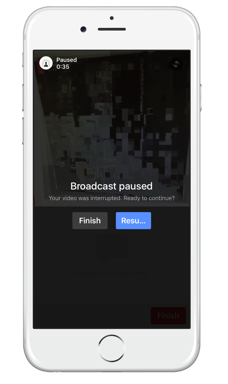 You will get a notification to say that the live stream is paused in certain situations