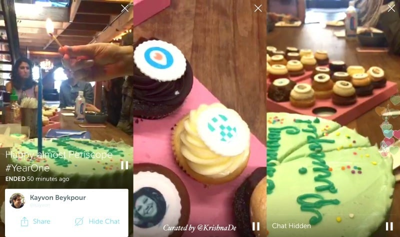 Periscope showcase their new first birthday celebratory heart in a live stream