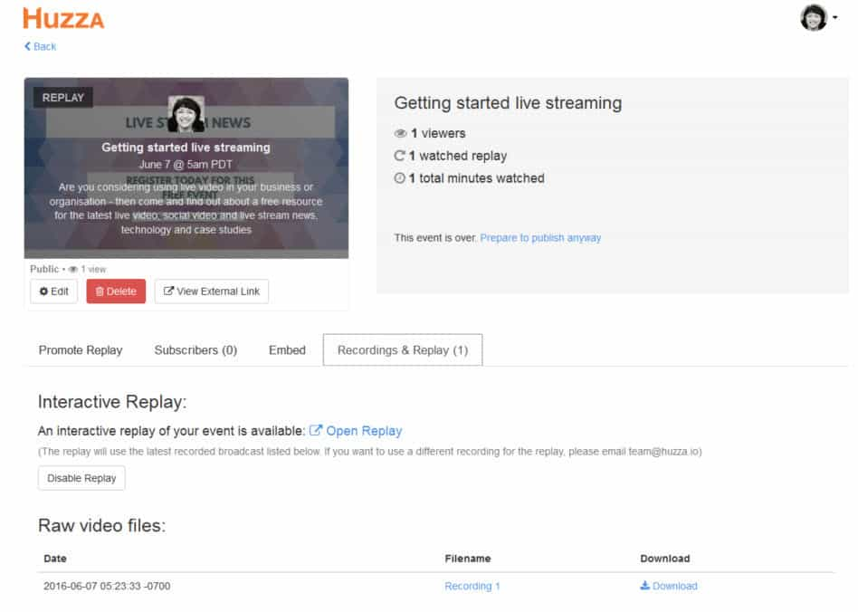 How to live stream with Huzza - download and repurpose your live stream