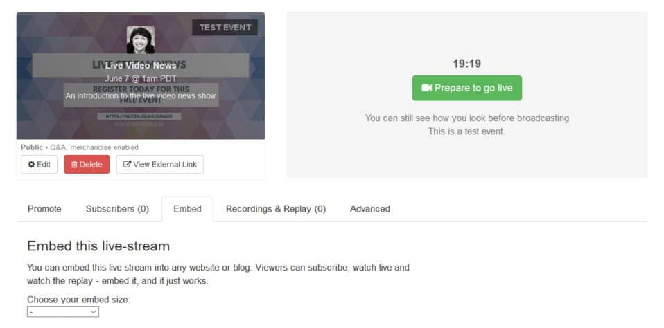 How to live stream with Huzza - embed your live stream on your website is a premium feature