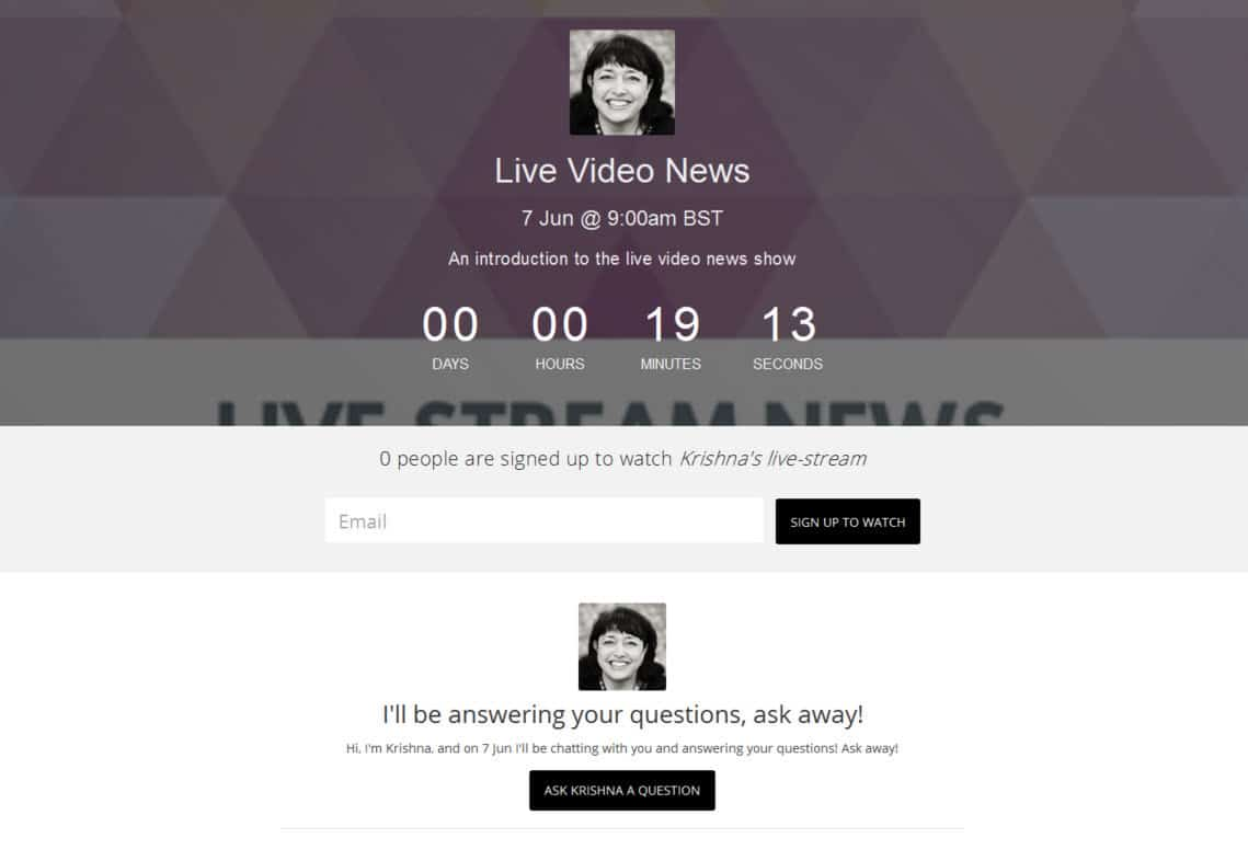 How to live stream with Huzza - invite people to submit questions before the live stream commences