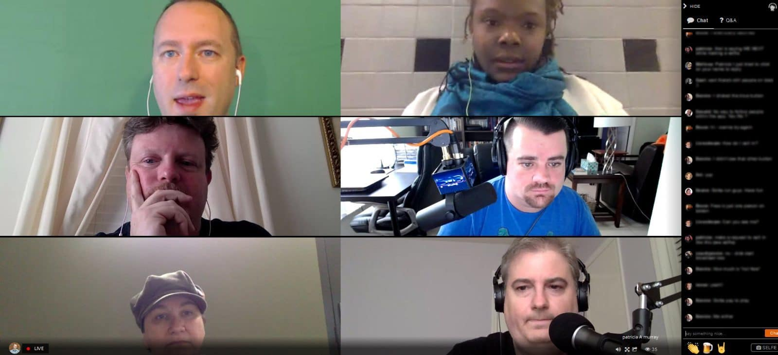 How to live stream with Huzza - the audience view when you have six people in a live stream aslo seeing the comments