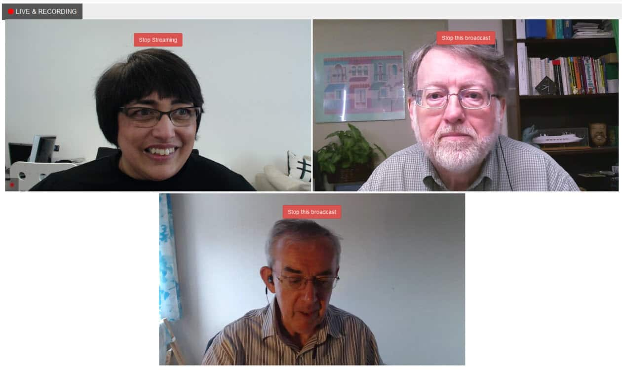 How to live stream with Huzza - the host view when you have three people on screen