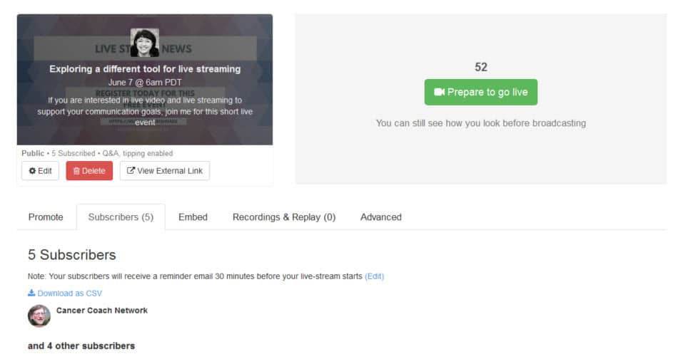 How to live stream with Huzza - view the subscribers of your event and download their details