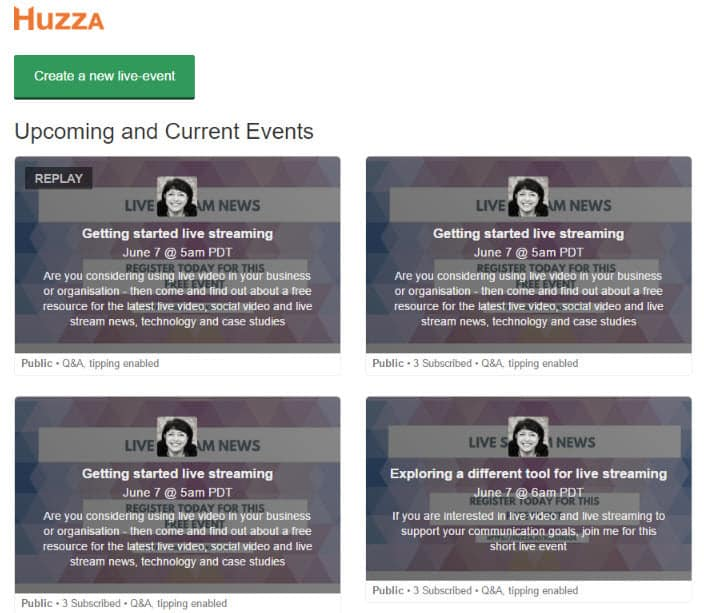 How to live stream with Huzza - view your dashboard for your forthcoming and past events