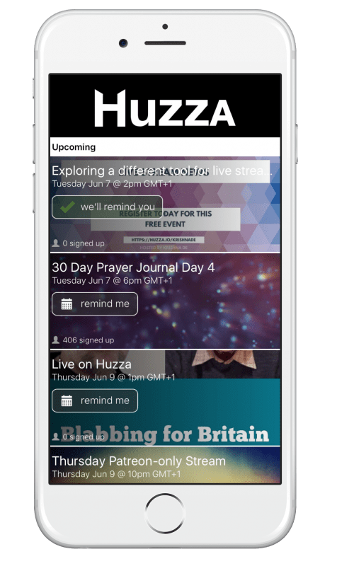 How to live stream wth Huzza - subscribe on mobile to get a reminder of events