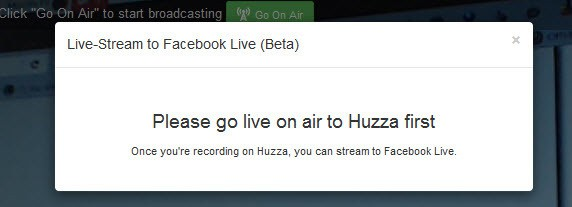 You need to start your Huzza live stream before going live on Facebook