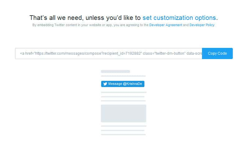 Access Twitter Direct Message customisation options