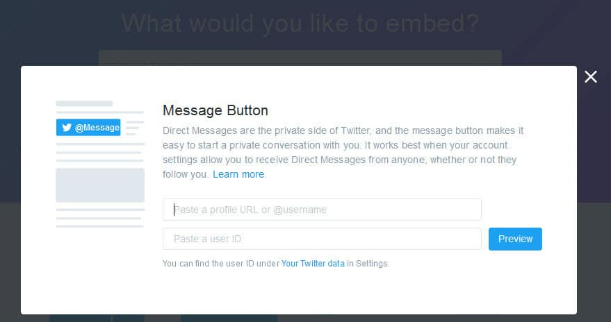 Customise the Twitter Direct message button for your site