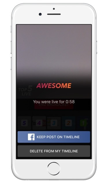 Decide if your wish to keep the live stream on your Facebook profile or delete it once the live stream has finished