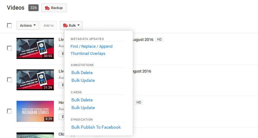 Easily implement bulk changes to your YouTube videos using TubeBuddy