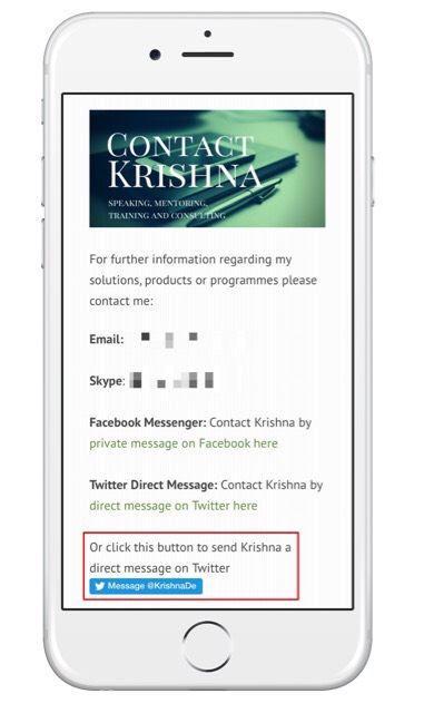 Embedding the Twiter Direct Message Button On Your Contact Page