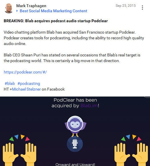 In September 2015 Blab purchased Podclear the paid podcast recording platform