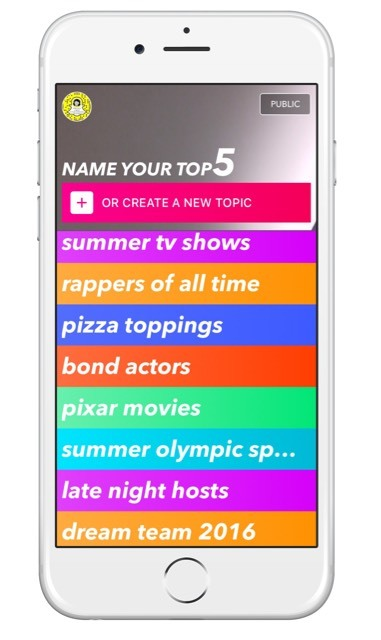 Select one of the suggested themes within Top5 Live