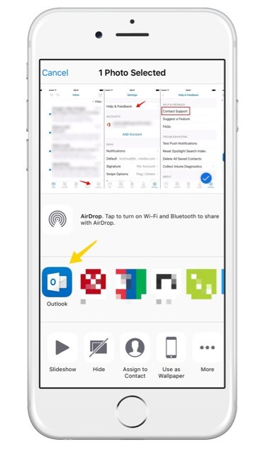Sharing your image files to Outlook through the share button on your camera roll