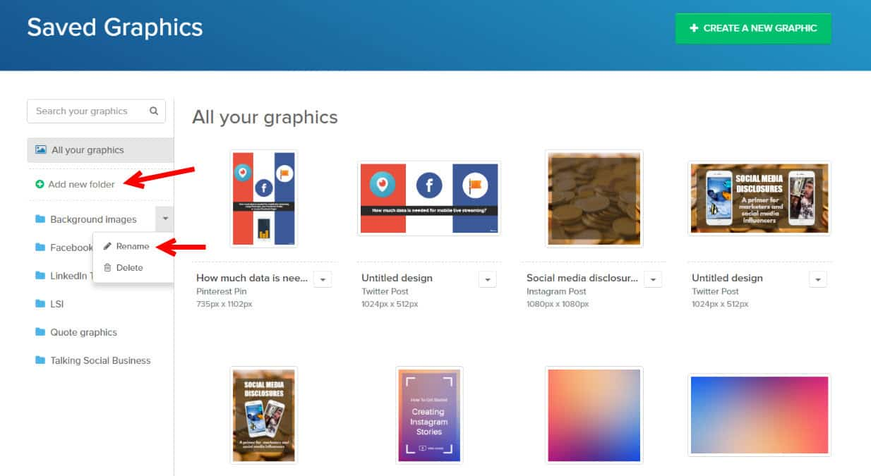 Snappa introduces folders and search to help you manage your workflow