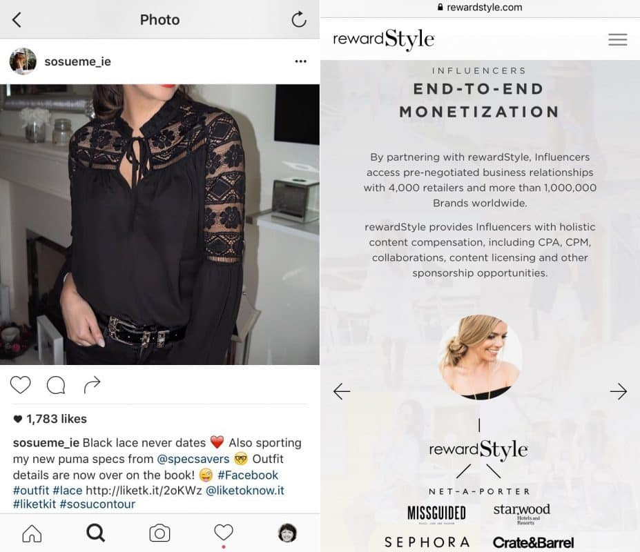 Social meda influencer fails to promote that they are promoting affiliate products using LikeToKnowIt