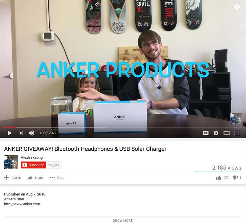 YouTube creator fails to clearly mention the promotion is sponsored by Anker