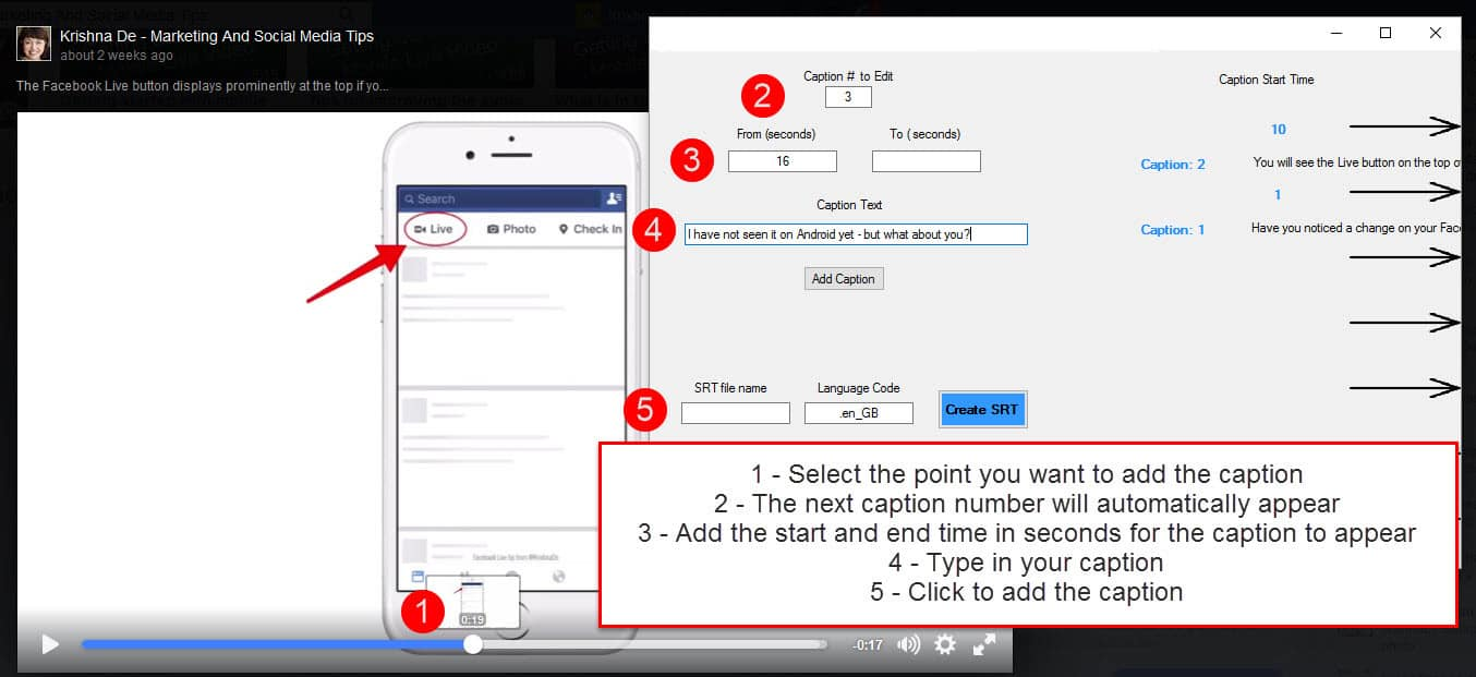 5 steps to create srt captions for your published video on Facebook