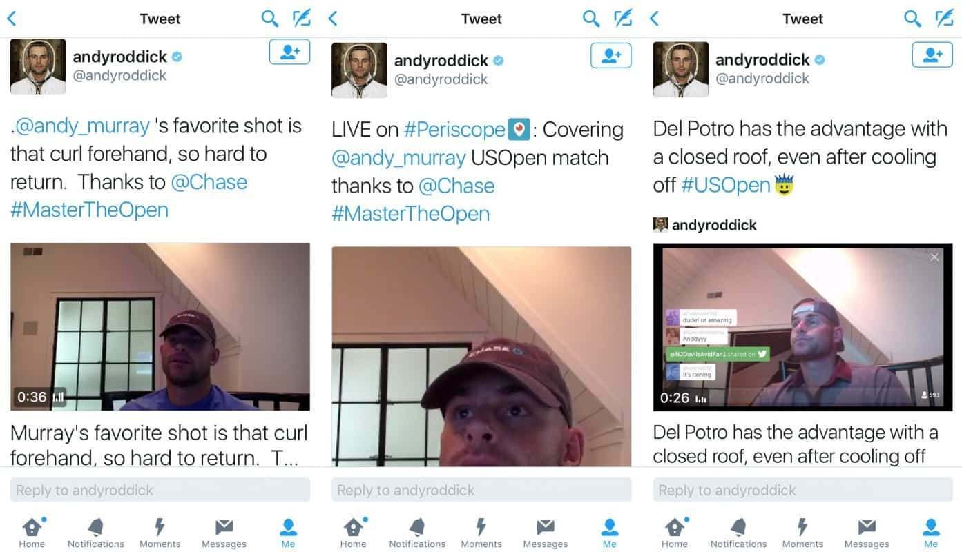 Andy Roddick shares the sponsored Periscope live streams on Twitter