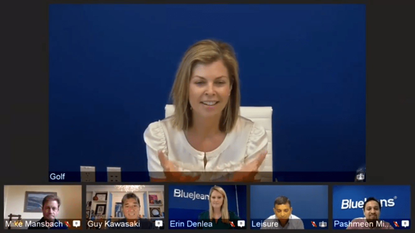 BlueJeans Primetime for Facebook Live enables you to have the main speaker on stage with other attendees in smaller video windows