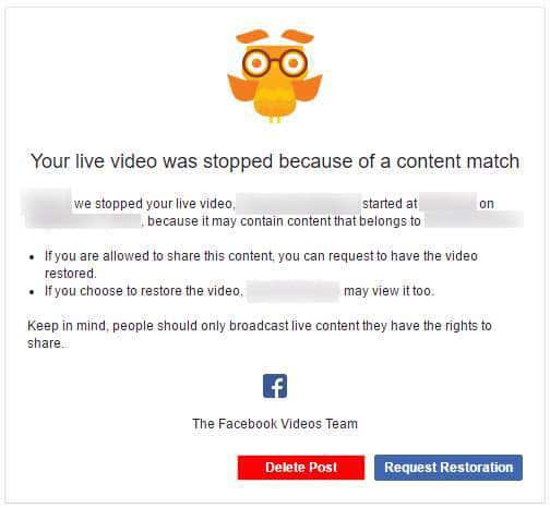 Breach of copyright notice for live streams on Facebook Live