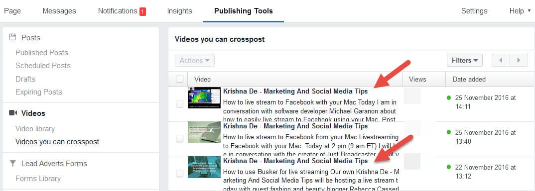 Examples of Facebook Live content that can be cross posted on a Facebook page