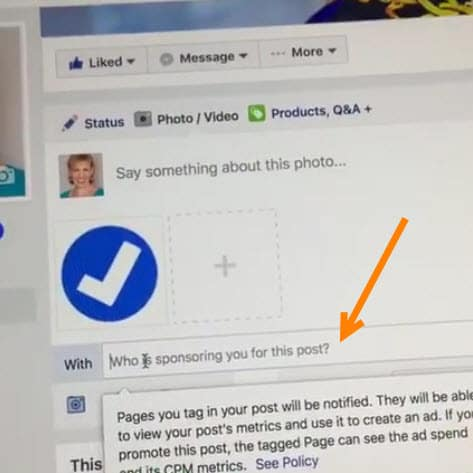 Facebook branded content tool prompts the influencer with the verfied page to say who is sponsoring a post