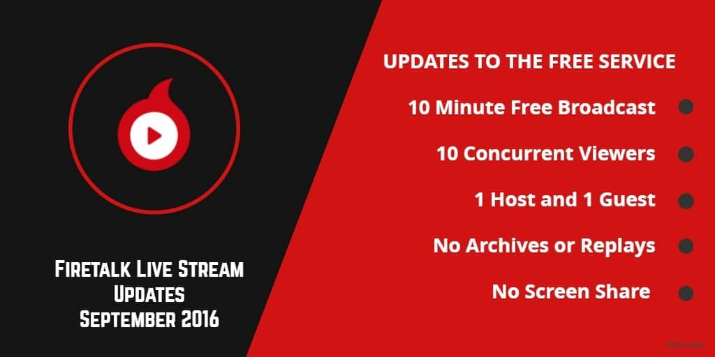 Firetalk live stream platform updates september 2016