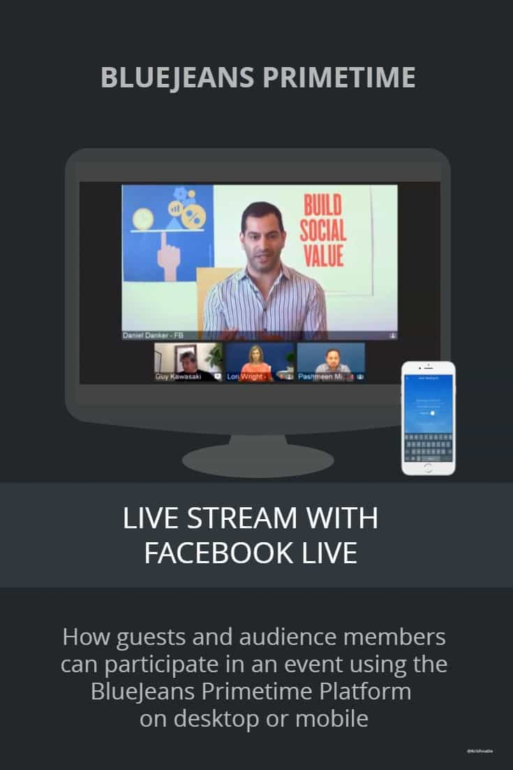 How to join a live stream on BlueJeans Primetime for Facebook Live as a guest on desktop or mobile