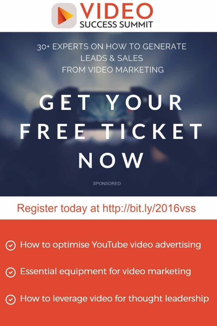 Register for a FREE online conference for video marketing success - 30 expert sessions in 4 days September 13-16 2016