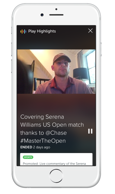 The Periscope team highlight the sponsored live stream with Andy Roddick for the US Open