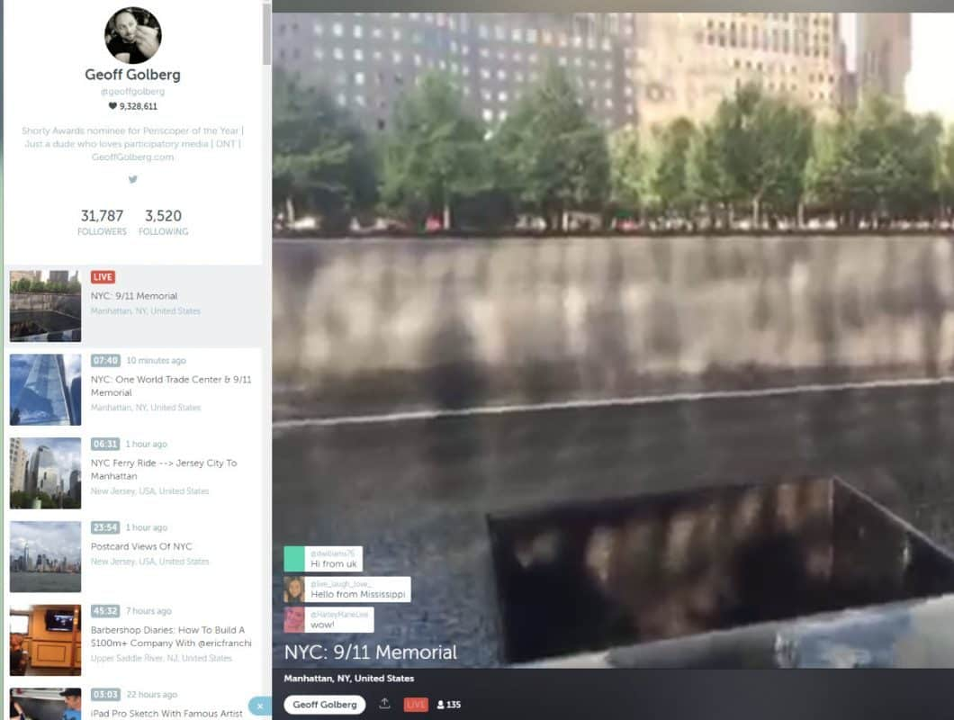 Viewing a Periscope live stream using the Chrome browser
