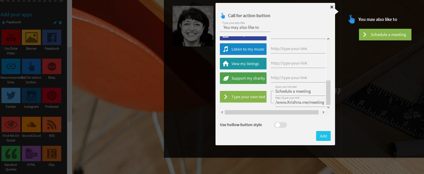 With the Wiseintro pro landing page you can add call to actions to your profile