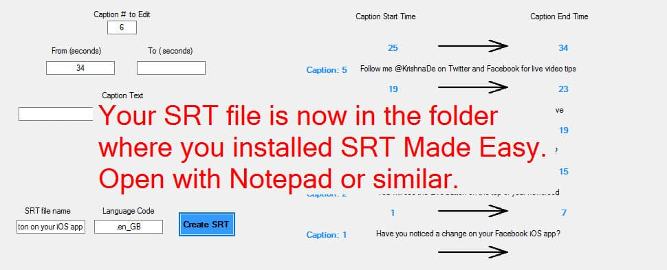You will receive a notification to say your srt file has been created