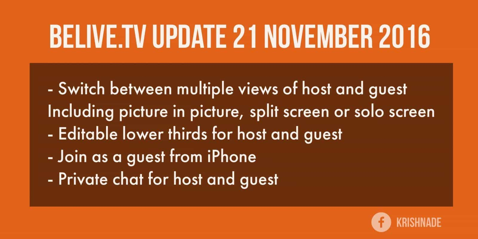 BeLivetv updates their live stream app for two person live streams 21 November 2016