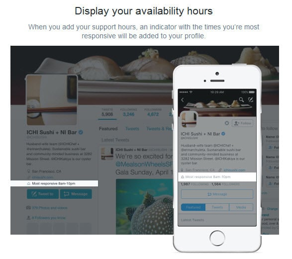 Display the hours you are available for customer support on Twitter