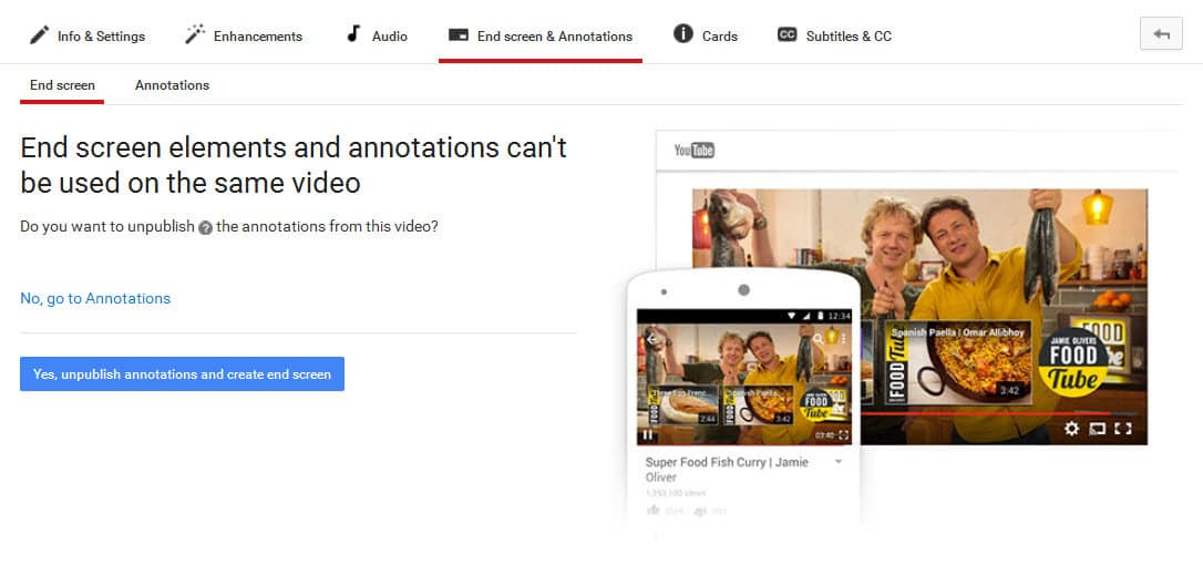 End screen elements and annotations can not be used together in a video