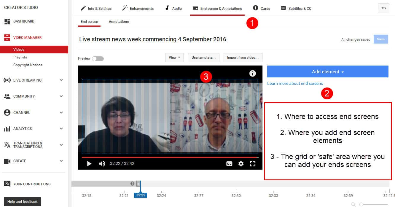 Get started adding end screens to your YouTube videos