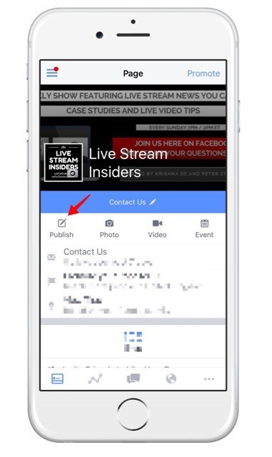 Get started creating your Facebook Live post on your iOS device on your Facebook Page using the Facebook Pages app