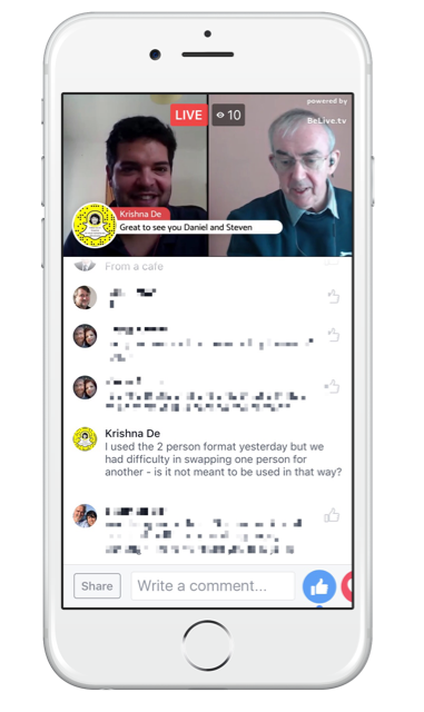 Live streaming comments from your audience can be brought on scree