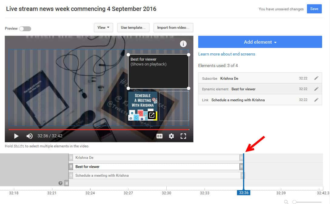 You can adjust the start and end time of each element in your YouTube end screen