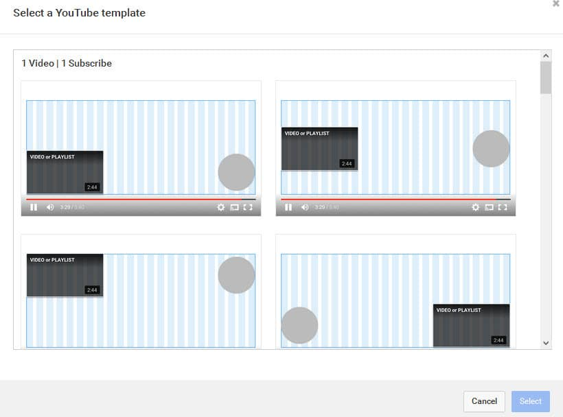 You can choose from one of YouTubes formats for end screen element placements