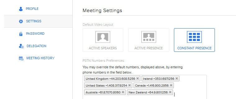 Customise your settings for BlueJeans onSocial including the phone numbers that you want to appear in the email invitation to participants