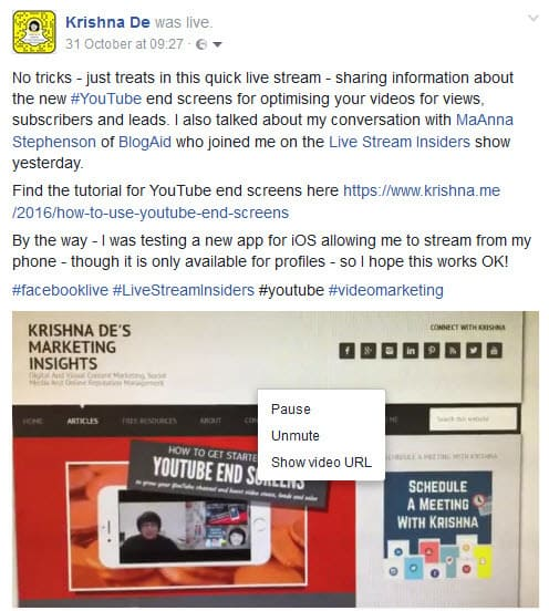 Download your Facebook Live stream from your personal profile find the url of the video