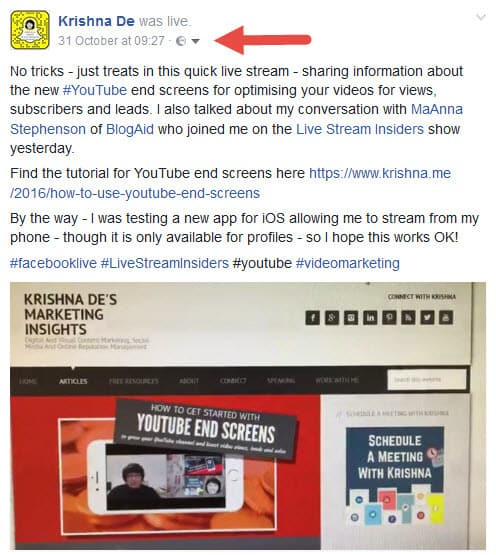 Download your Facebook live stream from your personal profile finding the url of the post