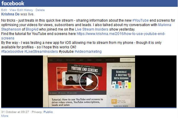 Download your Facebook live stream from your personal profile look at the mobile version of the video