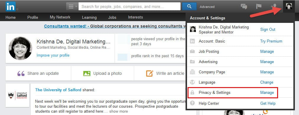 How to edit your email address on LinkedIn on desktop - first navigate to your settings